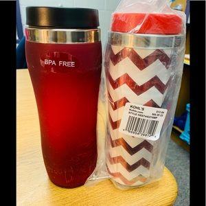 2 brand new travel mugs.  Red/red white chevron